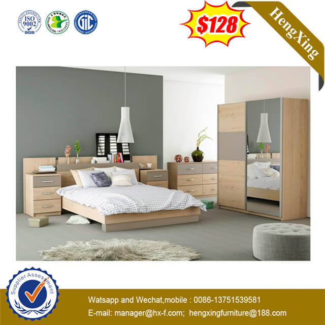 Short Delivery Time Hotel Bedroom Furniture Black Color Fabric Leather Backrest Wooden Bed