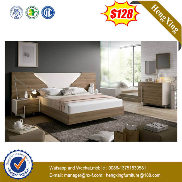 High Quality Headboard Hotel Furniture Set 1.8m Master Bedroom Double Bed Storage Bed