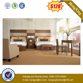 Solid Wood Walnut Hotel Apartment Bedroom Furniture Set Double King Bed