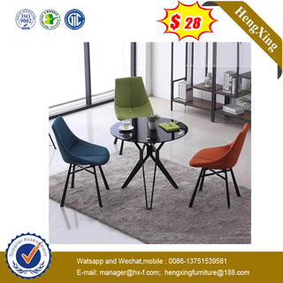 Modern European Style Hotel Dining table Steel Leg Velvet Dining Chairs