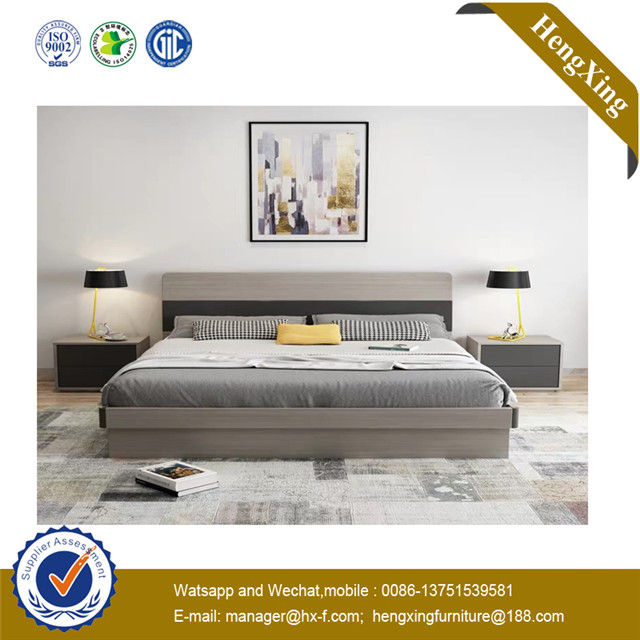 Modern PU Headboard MDF Doube T Grey Hotel Bedroom Furniture Bed