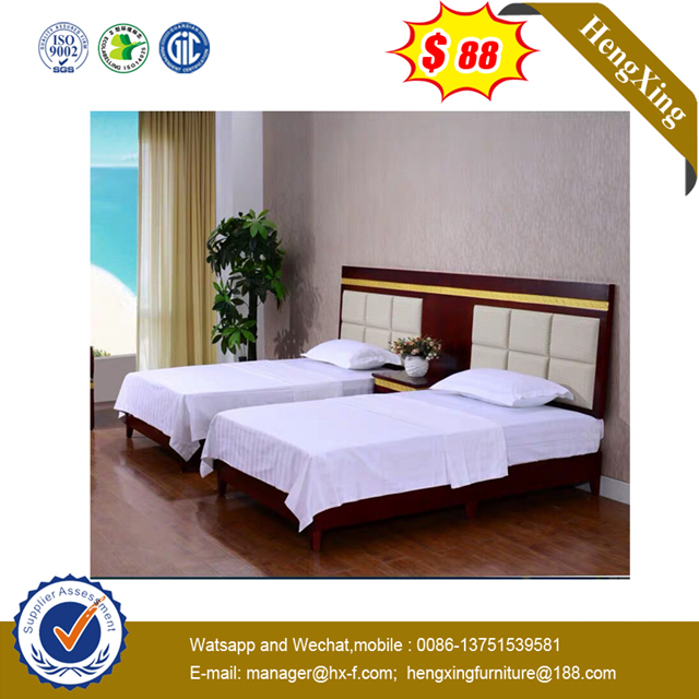 MDF Woodden Single Double King Queen Size Hotel Furniture Set Bed