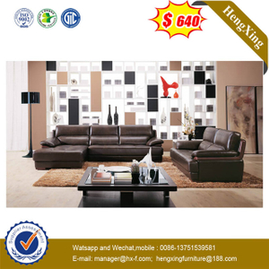 Dark Brown Living Room Furniture Leather Corner Sofa with Coffee Table For Home