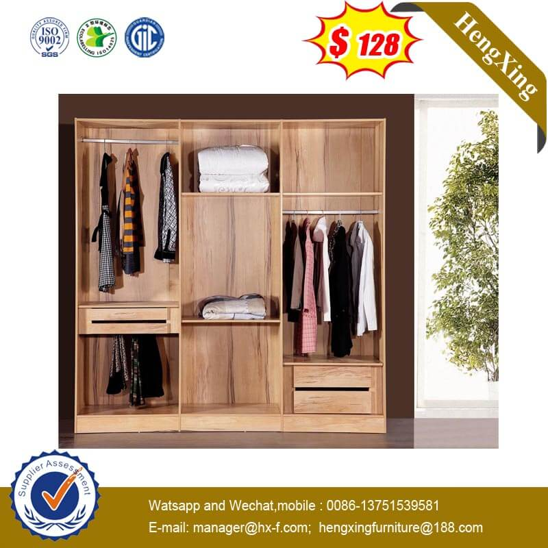 Simple Design Double Room Wooden Wardrobe With Drawers Large Capacity