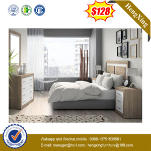 Contemporary Melamine Bedroom Furniture Hotel Furniture Wood Bed With High Head Board