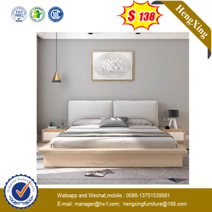 Simple Wooden Home Bedroom Furniture Light Customized Oak Pillow Fabric Backrest Bed