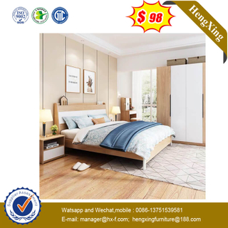 High Headboard Solid Wood Home Furniture Bedroom Panel Dould King Metal Legs Bed With Bedside Cabinet