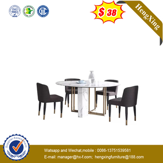 Home Furniture Classic Design Antique Luxury Marble Dining Table with Leather Chairs