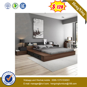 Cheap Fashion Living Bedroom MDF Double Bed Hotel home furniture Bed