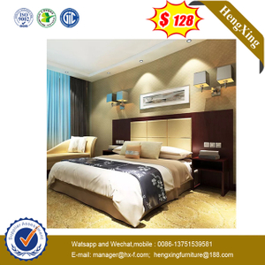 Wooden Leather bedroom furniture Queen Size hotel Bed