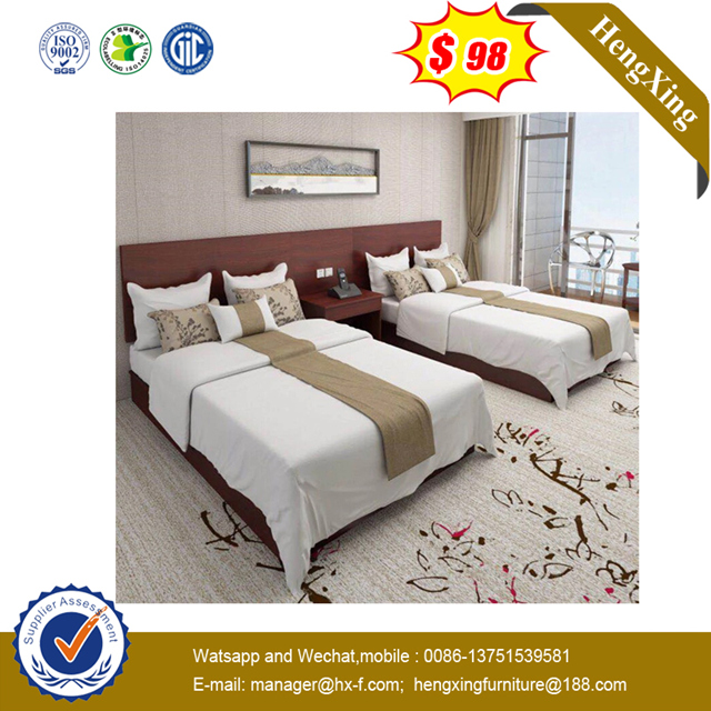 Fashion Wooden Apartment Bedroom Furniture Solid Wood Double Bed Set