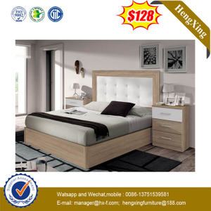 Apartment Simple Double King Size Wooden Bed With Double Night Table