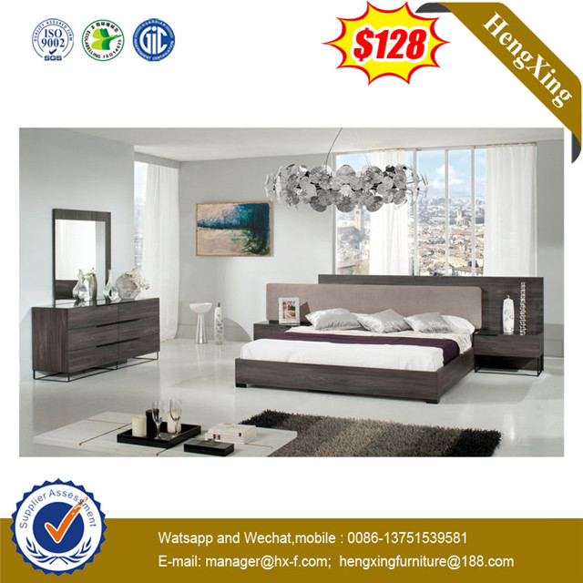 Simple Queen Bed Wooden MDF Home Hotel Bedroom Furniture