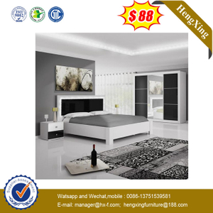 Modern Fabric Beds Bedroom Furniture Double Bed with Wood Legs