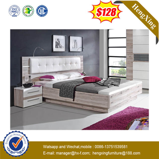 Good Quality Cheap Popular Hotel Bedroom Furniture White Fabric Leather Backrest Wooden Bed