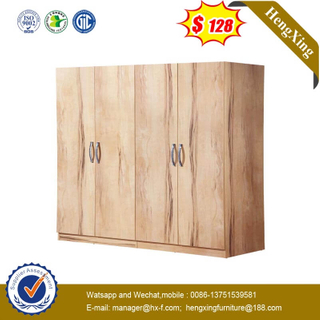 Chinese Cheap Log Color Wardrobe Home Furniture Closet With 4-door