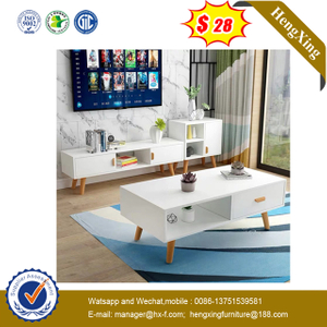 Cheap price living room furniture set cabinet white wooden round modern coffee table set