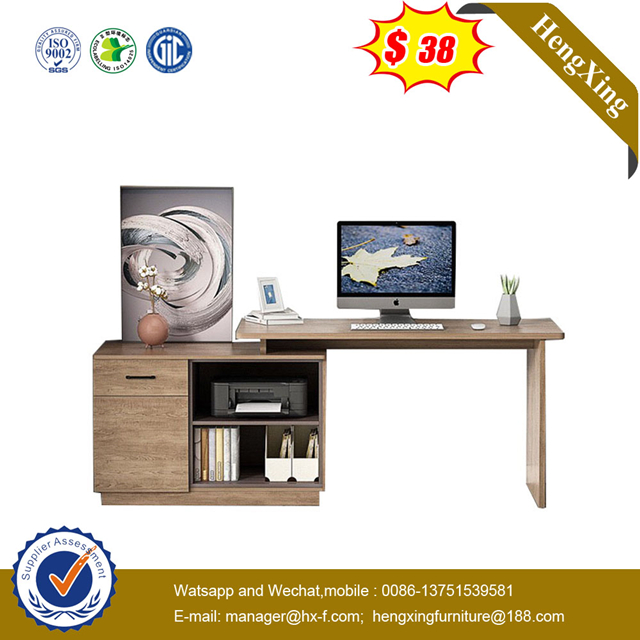 Chinese Furniture Wooden Office book shelf Computer Desk Laptop Stand study table with Side Table