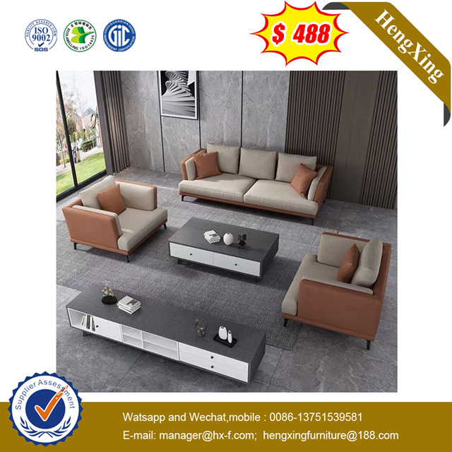 wooden living room furniture Fabric Leather Living Room7 Seater Sofa Set