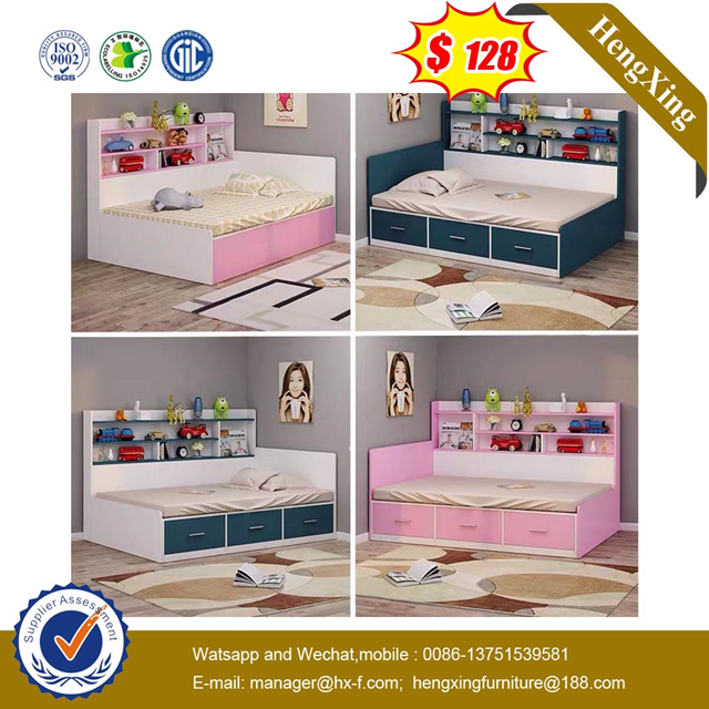 Simple Modern School Home Bedroom Furniture Single Storage cabinets double king Children Kids Bed