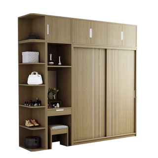 Sliding Door Wardrobe Modern Simple Assembly Coat Cabinet Household Integrated Bedroom Furniture