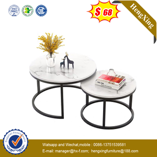 Modern Marbling Round Tea Table Simple Sofa Side Steel Coffee Table with Steel Frame