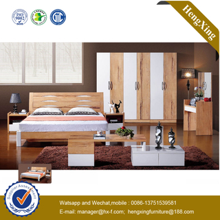 Simple Design Wooden MDF Hotel Home Bedroom Furniture Set Double Bedroom Bed