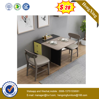 Factory Customized Extension Modern Wood Melamine Laminated Dining Table with Chair Set