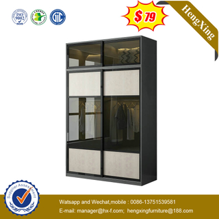 Modern Simple High Wall Bedroom Furniture Set Glass Mirror Soft Close Wooden 2 Doors Sliding Wardrobe