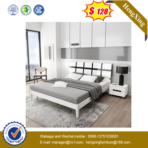 Factory living room Bedroom Furniture Set Wooden nightstand mattress Wall Double King white Beds