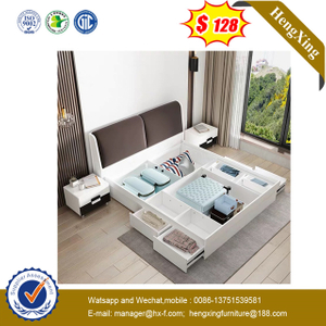 Wooden Modern Bedroom kids Furniture Storage Function King Queen Size Bed