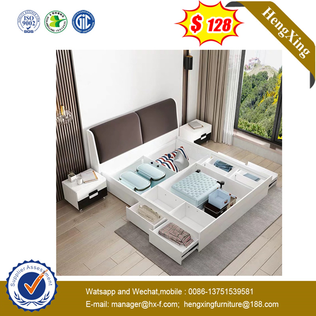 Wooden Bedroom Furniture living room Mattress Wall King Queen Size Storage Bed