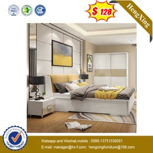 Wooden Home Kids Furniture Set livingroom wood frame leather headboard Wall Double Wall Sofa Bedroom Bed