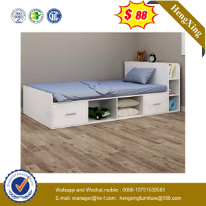 Children Bedroom Furniture Set Simple Single Size Wooden Kids Bed with Book Shelf