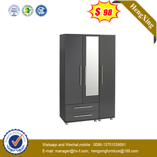Gray Modern Bedroom Furniture Melamine Laminated Swing Door Wardrobe with Mirror and Drawers
