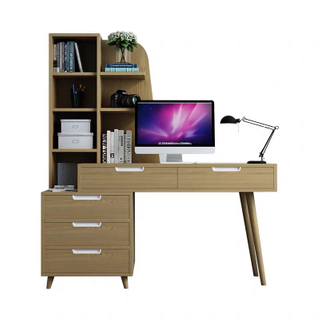 Modern Computer Table Writing Desk with Drawers with Bookcase for Home Office