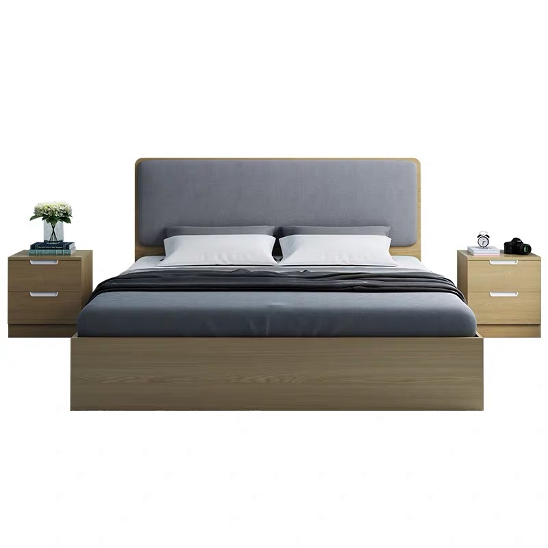 European Italian Style Classic Wood Panel Double Storage Bedroom Bed
