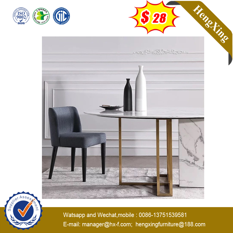 Restaurant Living Room Furniture Cheap Simple White Round Dining Table with Metal Legs