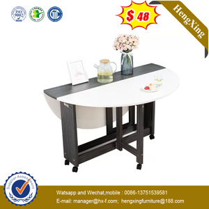 Modern Space Saving Furniture 6 Seats Steel Dining Table with Marble Wood Top